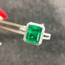 Luxus Damen Cocktail Ring Echt Silber 925 Smaragd Edelstein Frauen Geschenk Neu.