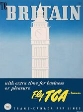 To England Great Britain Vintage Airline Travel Advertisement Art Poster