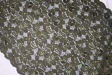 """1 yard Dark Olive Green galloon lingerie sewing STRETCH LACE 14""""  Extra Wide g"""