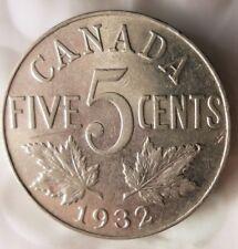 1932 CANADA 5 CENTS - Excellent Collectible - FREE SHIP - Canada Nickel Bin