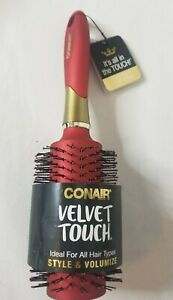 Conair Velvet Touch Round Brush Style & Volumize Double Nylon Bristles Red NEW