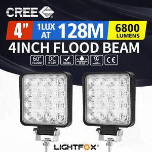 2x 4inch 80W Square LED Work Lights Bar CREE Spot Flood Reverse 4WD Ute Truck