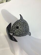 FISH  BIG BANGLE CUFF FASHION BRACELET  SPARKLING BLACK SWAROVSKI STYLE CRYSTALS