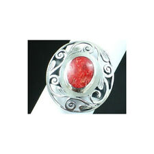 Grass Coral & 925 Sterling Silver Ring Size7