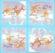3 Serviettes en papier Winnie L'ourson Patinage Paper Napkins Skating Cartoon