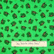 "St Patrick's Day Fabric - Irish Green Hat Clover Words Cranston VIP Cotton 31"""