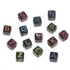 300 Pcs Random Mixed Black Acrylic Alphabet Letters Spacers Cube Beads 6mm