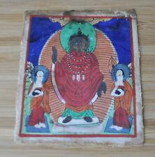Mongolian Tibetan Antique Miniature Tsakli Thangka Standing Buddha Shakyamuni