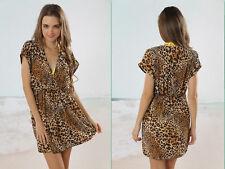 Coffee Leopard Bali Kaftan Beach Swim wear Nylon Bikini Cover Up summer dress