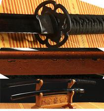 DAMASCUS FOLDED STEEL BLACK RED FULL TANG SHARP JAPANESE SAMURAI KATANA SWORD