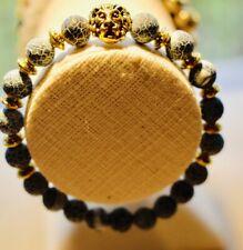 Men's lion's head crackled agate  bracelet