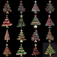 Retro Crystal Rhinestone Enamel Christmas Tree Brooch Pins Charm Women Jewelry