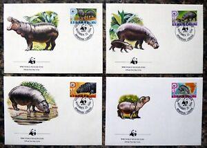 LIBERIA 1984 WWF Set of 4 Souvenir FDC's with Special Cancel DM155