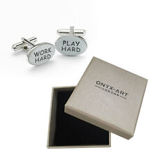Mens Work Joke Novelty Oval Cufflinks & Gift Box By Onyx Art