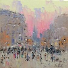 Oil On Canvas-original Painting-London-Trafalgar square-city