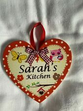 Kitchen Heart Plaque Sarah's Kitchen Magnetic Wall Hanging NEW