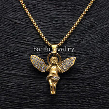 "Stainless Steel Men 14k Gold Stardust Long Wings Angel Pendant Hip-Hop 24"" chain"