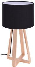 Design Tischlampe schwarz - 47x26 cm - Holz Tisch Leuchte Lampe Nachttischlampe