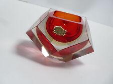 MURANO Glas Block SCHALE rot sommerso flavio poli 50er 50s ashtray portacenere