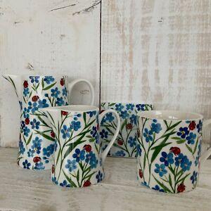 2021 Gisela Graham Easter Bone China Forget Me Not Flower Vintage Jug Mug Blue