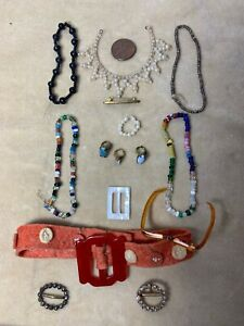 LOT ANTIQUE AND VINTAGE DOLL JEWELRY, BUCKLES, RINGS, NECKLACES,GLASSES
