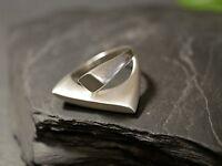 Großer 925 Silber Ring Signiert Meisterpunze URB Formstark Matt Balken Edel