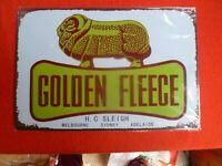 GOLDEN FLEECE TIN SIGN HC SLEIGH REPLICA MODERN 30X20CM
