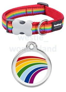 Red Dingo RAINBOW Dog / Puppy Collar |  Engraved ID Tag | XS - LG | FREE P&P