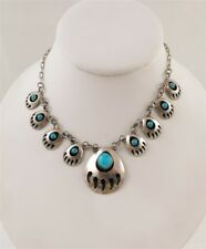 Navajo Sterling Silver Turquoise Bear Claw Shadow Box Squash Blossom Necklace