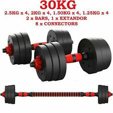 NEW FITNESS 30KG DUMBELLS PAIR OF WEIGHTS BARBELL/DUMBBELL BODY BUILDING SET
