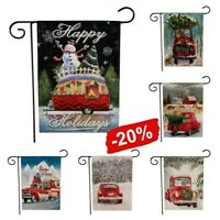 Merry Christmas Red Truck with Gifts Double Sided Winter Garden Flag 20% OFF