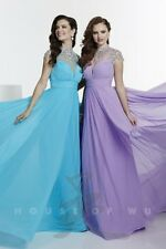 Tiffany 16115 Pacific Blue AB Capped Sleeved Pageant Gala Gown Dress sz 6
