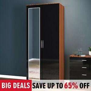 2 Door Wardrobe With Mirrored Storage Black Walnut High Gloss Furniture Shelf