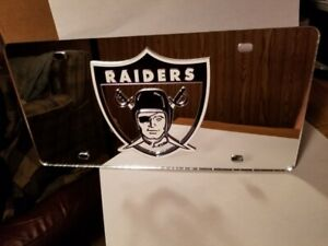 NFL Oakland Raiders Retro Laser License Plate Tag - Silver