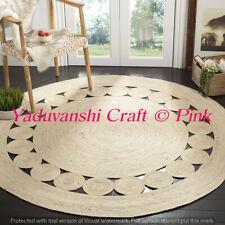 Indian Ornamental 5 ft Handwoven Braided Jute Floor Reversible Weave Round Rug