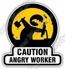 "Caution Angry Worker Office Job Boss Funny Car Bumper Vinyl Sticker Decal 4""X5"""