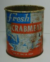 Old Vintage FRESH CRABMEAT GRAPHIC ADVERTISING TIN HOBUCKEN NORTH CAROLINA USA