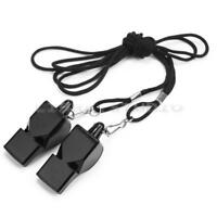 Football-Soccer Sports-Plastic Referee Whistle Black Lanyard Emergency Survivals