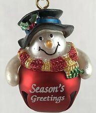 "Ganz Jingle Bell Snowman Ornament Seasons Greetings New 2"""