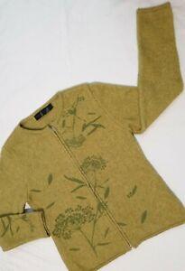 Merinomink New Zealand Ladies Jacket Cardigan Size M Merino Possum Angora Green