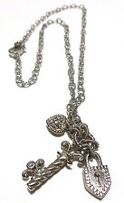 JUDITH RIPKA STERLING SILVER CABLE CHAIN HEART PADLOCK LOCK KEY CHARM NECKLACE