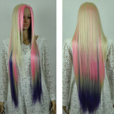 Extra long straight mix multicolor blonde pink purple cosplay full hair wig