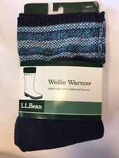 L.L. Bean New Women's Medium (8-9) Wellie Warmers Blue Fair Isle