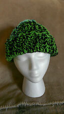 Crocheted Beanie Hat Green & Black