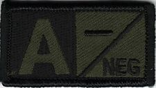 Olive Green Black Blood Type A- Negative Patch VELCRO® BRAND Hook Fastener Compa