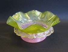 Superb Antique Victorian Art Glass Bowl w/ Pink & Yellow Feathers  c. 1900  Webb