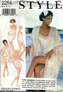 1990s Style Sewing Pattern 2254 Misses Lingerie Robe Teddy Slips Size 6-16