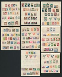 LATVIA STAMPS 1918-1936 8 ALMOST COMPLETE IDEAL STAMP ALBUM PAGES, MANY SETS