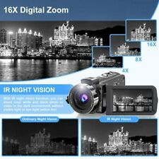 Video Camera Ultra 2.7K Camcorder HD 36MP Digital Vlogging Recorder with IR Nigh