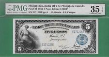 1933 BANK OF THE PHILIPPINES ISLANDS FIVE PESO P-22 PMG VF 35 EPQ